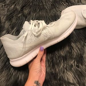 All white Mens Nike Free Fly Knit